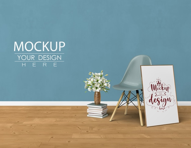 Mockup poster frame with home decorating in the living room modern interior.
