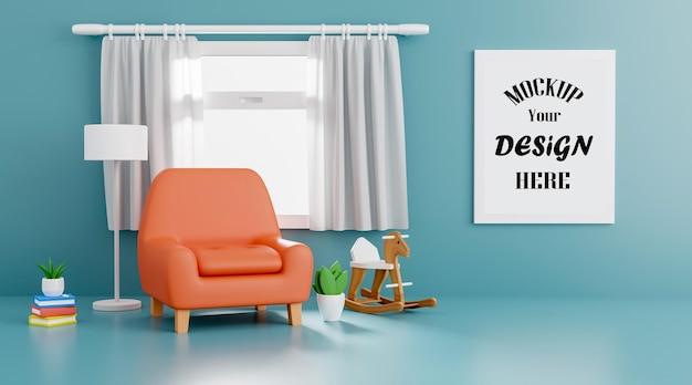 베이비 샤워 3d 렌더링 인테리어 디자인을위한 오렌지 소파와 모형 포스터 프레임