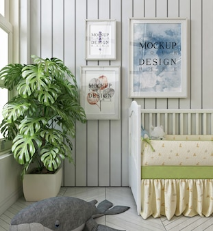 Mockup poster frames in modern baby's bedroom