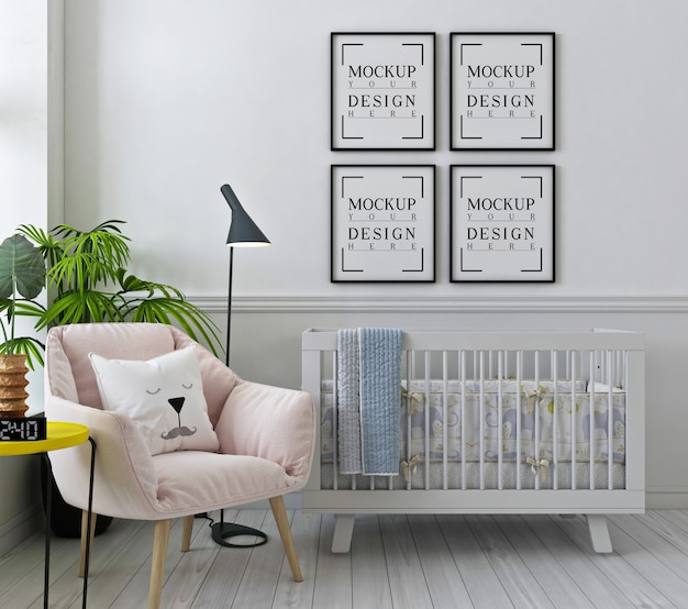 Mockup poster frames in white nursery room with pink armchair