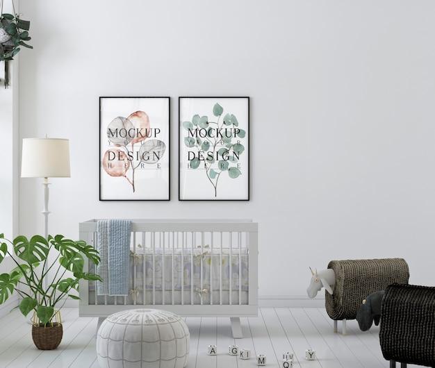 Mockup poster frames in white nursery room