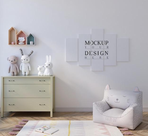 귀여운 흰색 아이 침실에서 모형 포스터