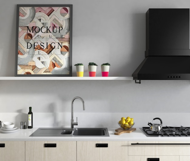 우아한 디자인으로 현대 부엌에서 이랑 포스터