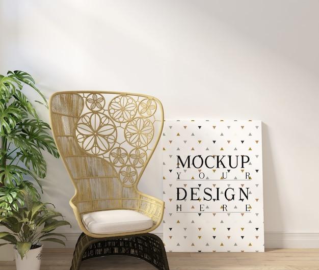 プランターとアームチェアのあるモダンな白いリビングルームのモックアップポスター