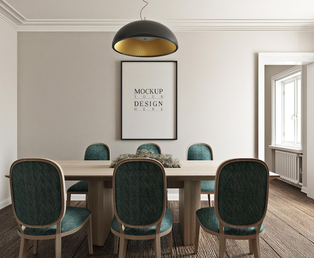 Mockup poster in modern classic photorealistic  dinning room