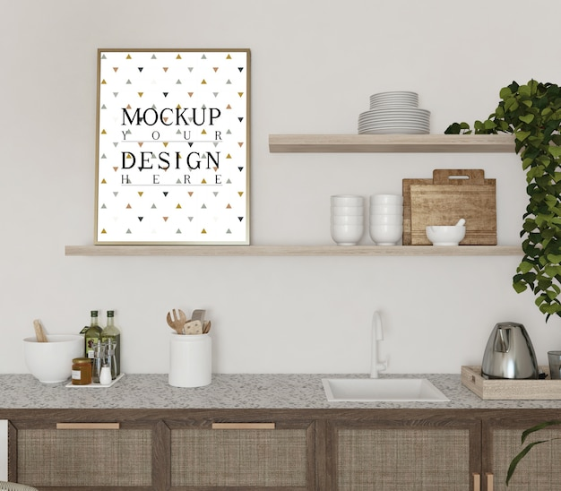 Mockup poster in modern kitchen  design