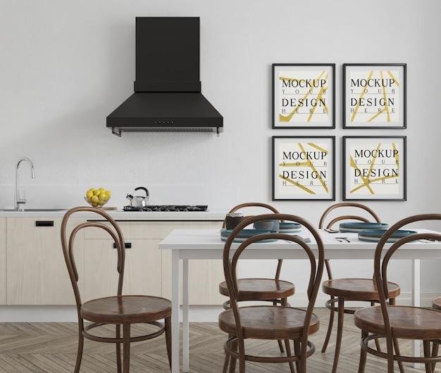 Mockup poster in modern kitchen with elegant design