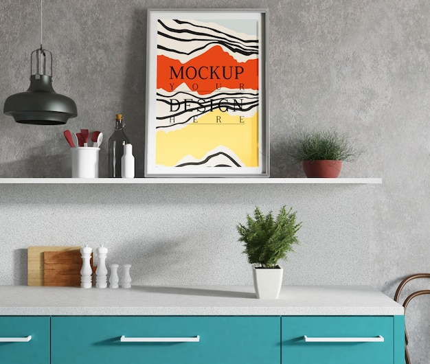Mockup poster in modern kitchen with elegant design