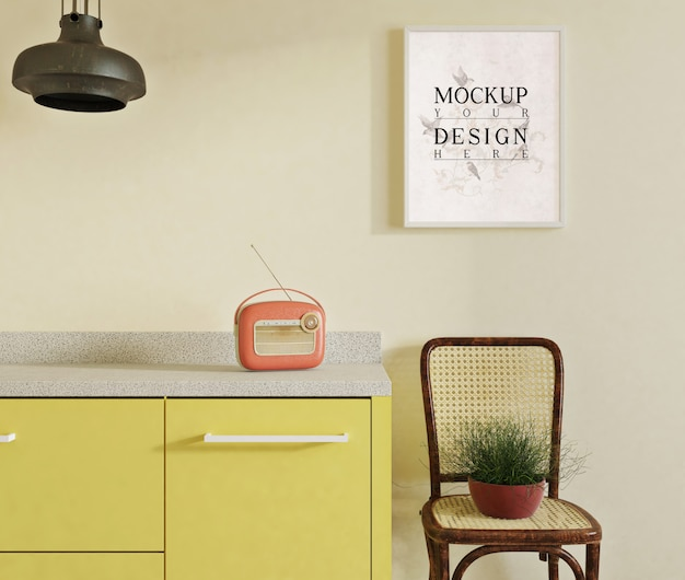 Mockup poster in modern kitchen with side chair