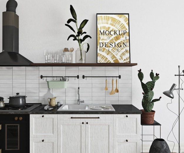 Mockup poster in modern kitchen