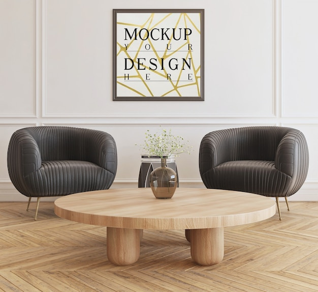 Mockup poster in modern livingroom with armchairs