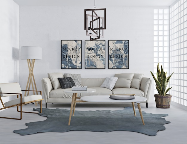 Mockup poster in modern livingroom with sofa