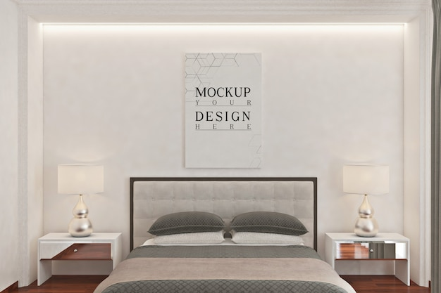 Mockup poster in modern monochrome bedroom