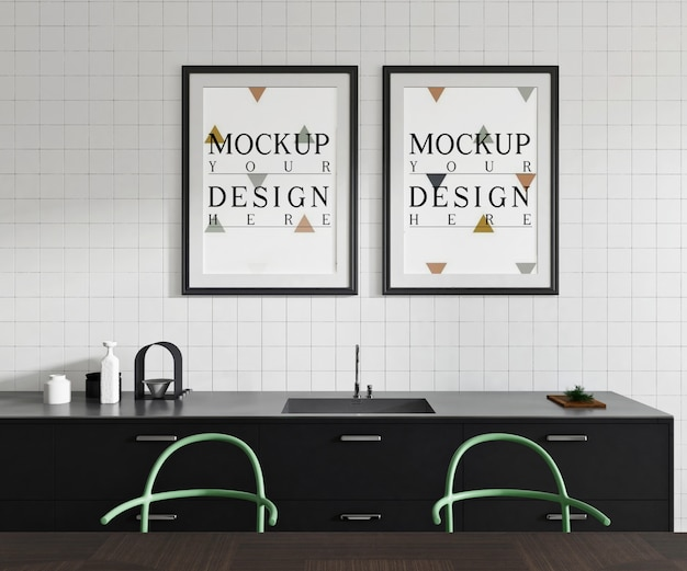 Mockup poster in modern open kitchen