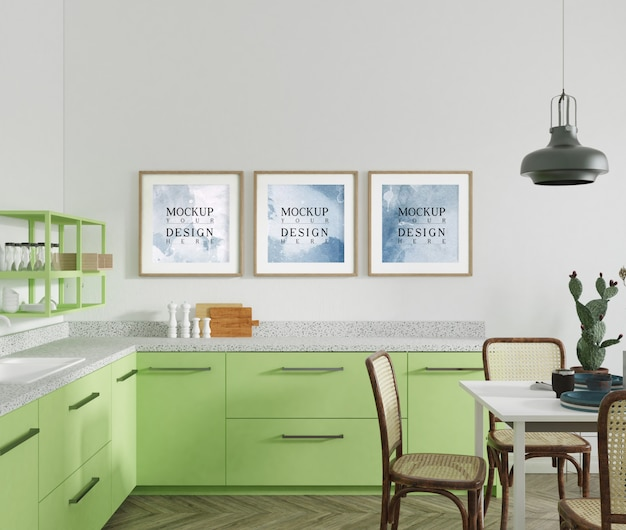 Mockup poster in modern open kitchen