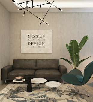 Mockup poster in modern private office with sofa and chair