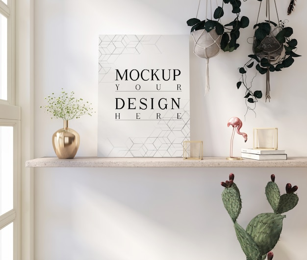Mockup poster in modern white livingroom with vase and decorations