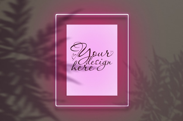 Mockup  poster in neon frame pink glow with leaves shadows