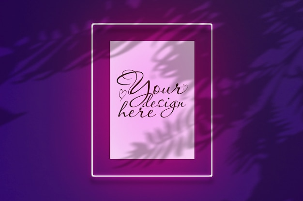 Mockup poster in a neon frame with a pink glow. scene on violet wall with tropical overlay palm shadows with free space inside