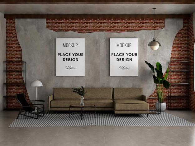 Макет плаката на бетонной и кирпичной стене с гостиной-чердаком