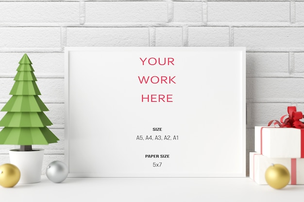 Mockup poster photoframe with christmas decorationin 3d rendering