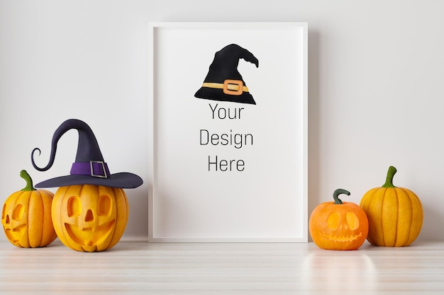 Mockup poster and photoframe with halloween festival decoration