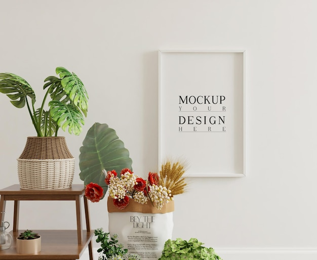 Mockup poster in simple interior with decorations and flowers
