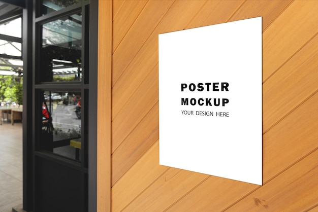 Mockup poster special promotion put in front of the restaurant