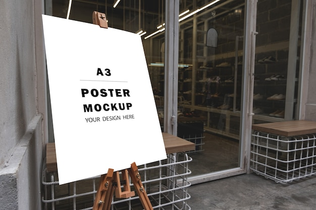 Mockup poster special promotion put in front of the shop