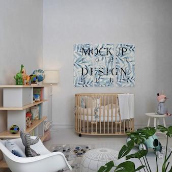 Mockup poster  in white modern nursery room