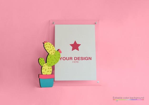 Mockup poster with cartoon cactus