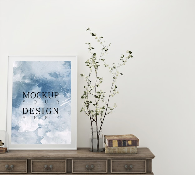 Mockup poster with decoration and console table