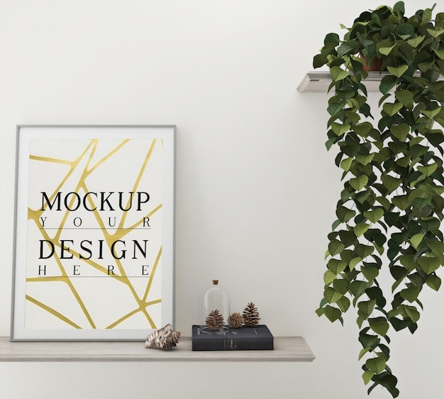 Mockup poster with decoration and planter