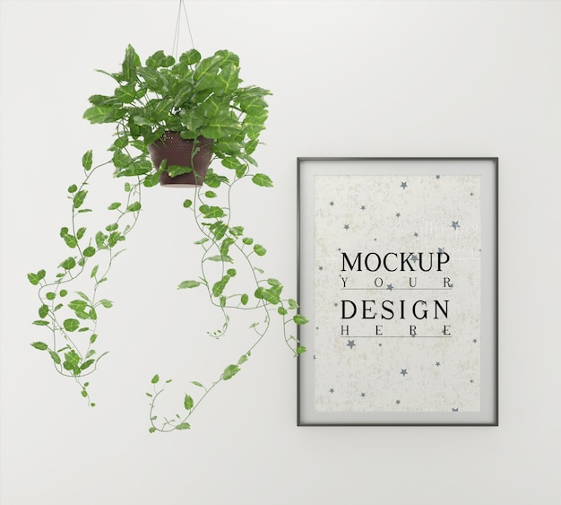 Mockup poster with planter