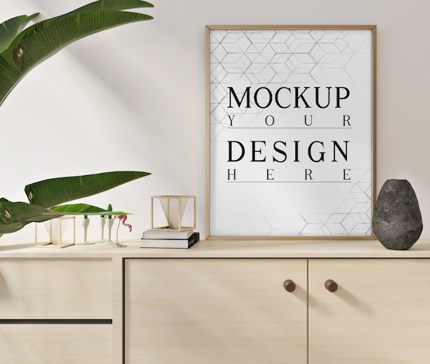 Mockup posters in modern white livingroom with  close up cabinet