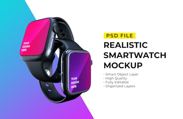 Mockup of realistic elegant smartwatches