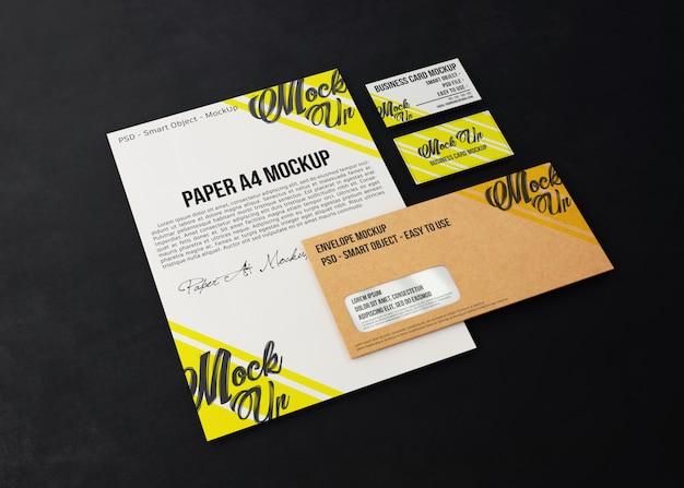 Mockup realistic minimalist stationery on a dark background
