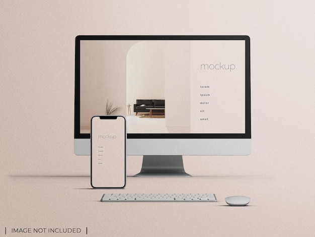 Mockup of responsive pc computer monitor with smartphone device screen web presentation concept