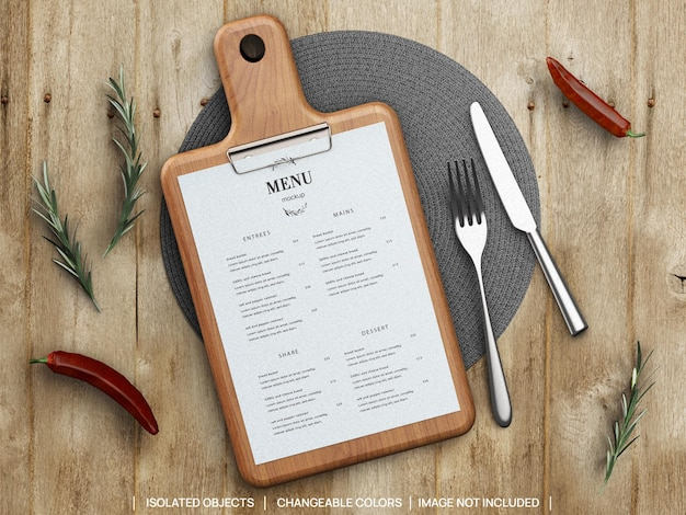 Mockup of restaurant food menu concept with cutting board rosemary and tableware