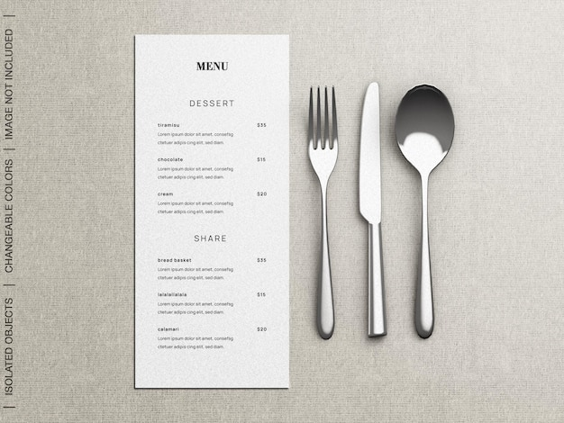 Mockup of restaurant food menu concept with tableware flat lay isolated
