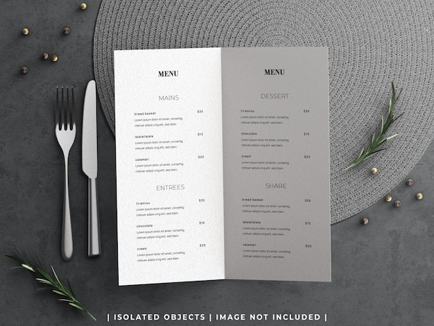 Mockup of restaurant food menu concept with tableware and rosemary branch flat lay isolated