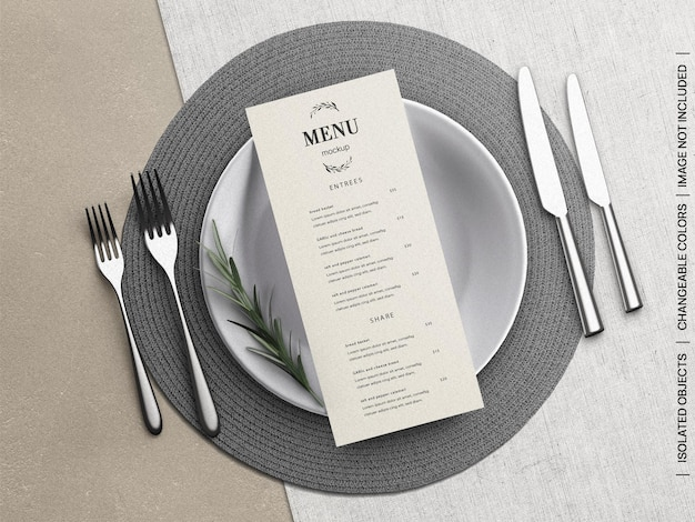Mockup of restaurant food menu flyer card concept with tableware