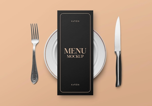 Mockup of restaurant food menu flyer card concept with tableware