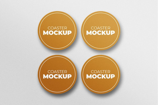 Mockup of round coasters in top view