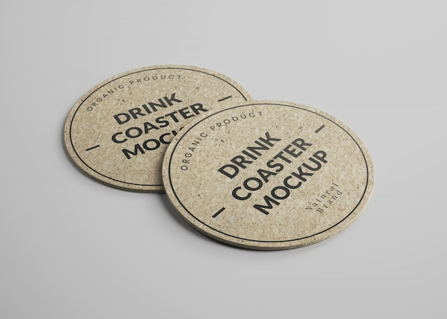 Mockup of round cork drink coasters in isometric view