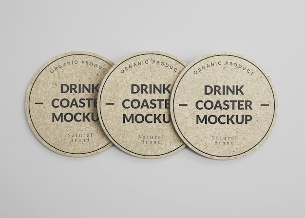 Mockup of round cork drink coasters in top view