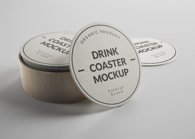 Mockup of round paper drink coasters in isometric view