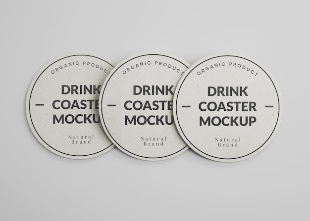 Mockup of round paper drink coasters in top view