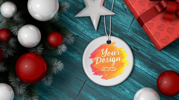 Мокап круглый сублимационный круг керамический рождественский орнамент
