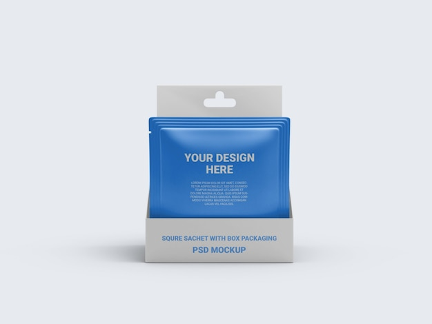 Mockup sachet in a display box packaging